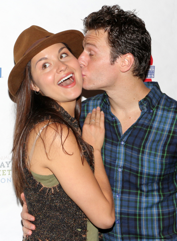 <p>Phillipa Soo gets a big kiss from her <em>Hamilton</em> costar Jonathan Groff before the sign some autographs.</p><br />(&copy&#x3B; David Gordon)