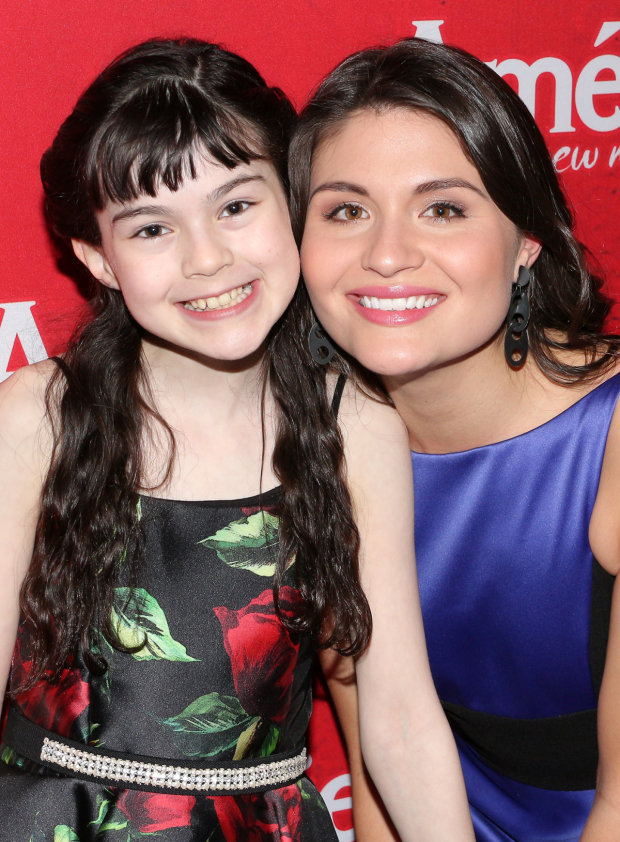 <p>Phillipa Soo poses with her younger onstage alter ego, Savvy Crawford.</p><br />(© David Gordon)