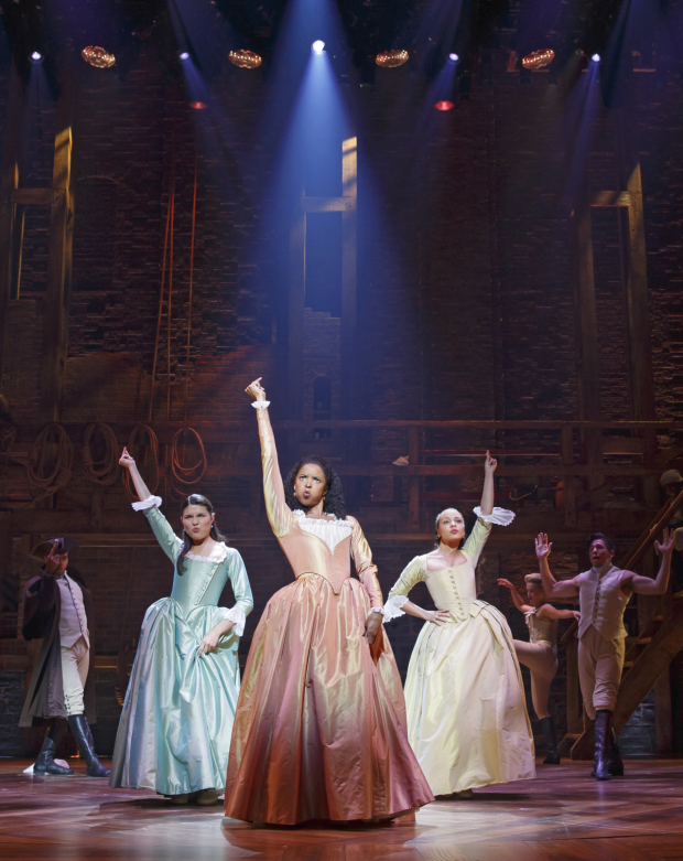 <p>Phillipa Soo, Renée Elise Goldsberry, and Jasmine Cephas Jones are the Schuyler sisters.</p><br />(© Joan Marcus)