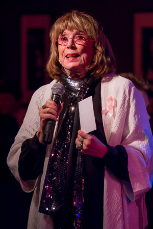 <p>Phyllis Newman announces that Lorna&#39&#x3B;s Pink Party has raised over $100,000.</p><br />(©Seth Walters)
