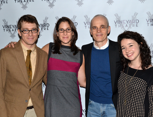 <p>Pierce is congratulated by the team of his play <em>Slowgirl</em>, director Anne Kauffman and actors Željko Ivanek and Sarah Steele. </p><br />(© David Gordon)