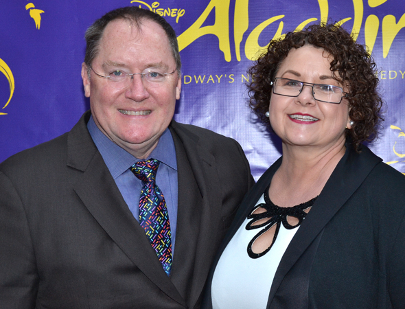 <p>Pixar and Disney Animation head honcho John Lasseter and his wife, Nancy, are ready to check out <em>Aladdin</em>.</p><br />(© David Gordon)