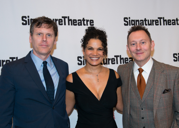 <p>Playwright and director Will Eno celebrates with actors January LaVoy and Michael Emerson.</p><br />(© Allison Stock)