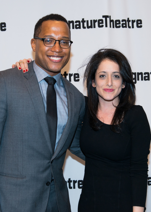 <p>Playwright Branden Jacobs-Jenkins poses with director Lila Neugebauer on opening night of <em>Everybody</em>.</p><br />(© Allison Stock)