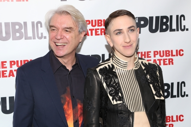<p>Playwright David Byrne stops for a photo with star Jo Lampert.</p><br />(© Tricia Baron)