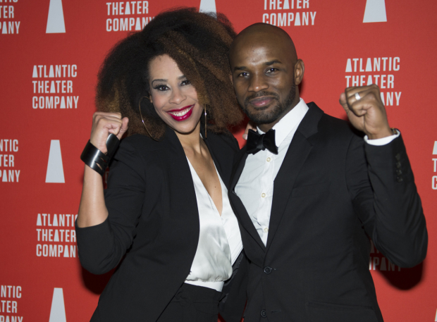 <p>Playwright Dominique Morisseau is excited to celebrate with her husband, Jimmy Keys, who contributed music to the production.</p><br />(© Allison Stock)