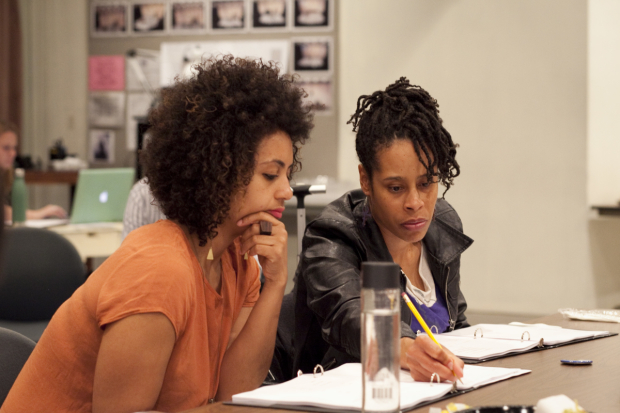 <p>Playwright Dominique Morisseau (right) works with director Lileana Blain-Cruz.</p><br />(© Chasi Annexy)