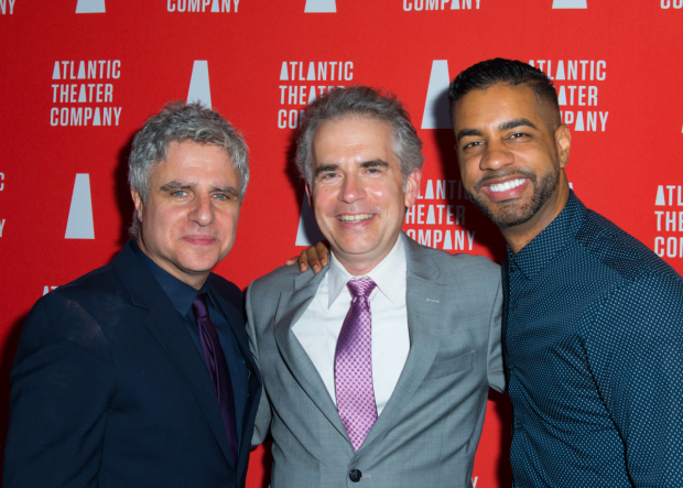 <p>Playwright George Brant takes a photo with director Neil Pepe and musical director Jason Michael Webb.</p><br />(© Allison Stock)