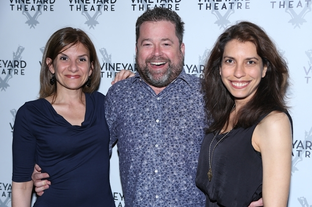 <p>Playwright Gina Gionfriddo, director Peter DuBois, and Vineyard artistic director Sarah Stern celebrate the show.</p><br />(© Tricia Baron)