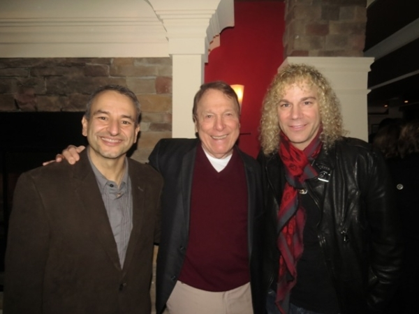 <p>Playwright Joe DiPietro, actor Greg Mullavey, and frequent DiPietro collaborator David Bryan celebrate following the opening night performance of <em>Clever Little Lies</em> at George Street Playhouse.</p><br />(© Jackie Brady)