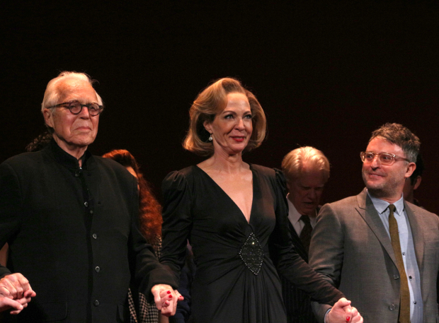 <p>Playwright John Guare takes a bow with star Allison Janney and director Trip Cullman.</p><br />(© David Gordon)