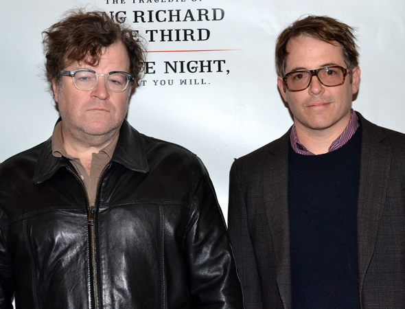 <p>Playwright Kenneth Lonergan and two-time Tony Award winner Matthew Broderick pal around at the opening of <em>Richard III</em>.</p><br />(© David Gordon)