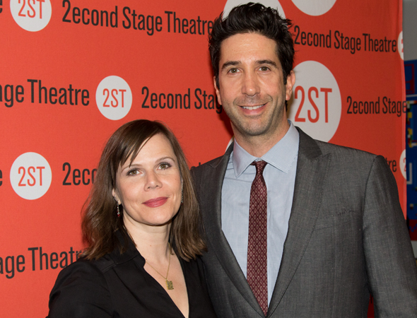 <p>Playwright Laura Eason shares a moment with her director, David Schwimmer.</p><br />(© Seth Walters)