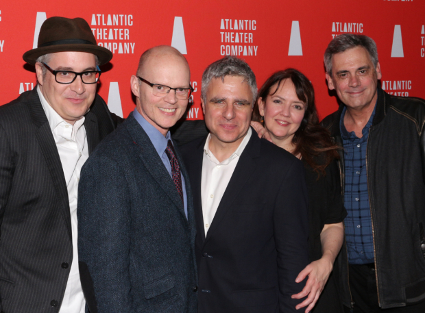 <p>Playwright Rolin Jones (left) and director Jackson Gay (second from right) pose with <em>These Paper Bullets!</em> producers (from left) James Bundy (artistic director of Yale Rep), Neil Pepe (artistic director of Atlantic Theater Company), and Randall Arney (artistic director of Geffen Playhouse).</p><br />(© David Gordon)