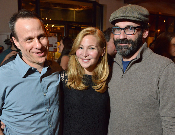 <p>Playwright Stephen Belber (left) celebrates opening night at the Huntington with leading lady Jennifer Westfeldt and her boyfriend Jon Hamm of AMC&#39&#x3B;s <em>Mad Men</em>..</p><br />(© Josh Reynolds)