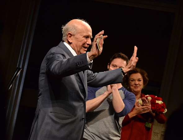 <p>Playwright Terrence McNally takes the stage to give some opening-night shout-outs.</p><br />(© David Gordon)