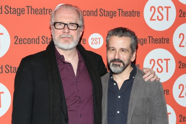<p>Playwright Tracy Letts poses with director David Cromer.</p><br />(© Tricia Baron)