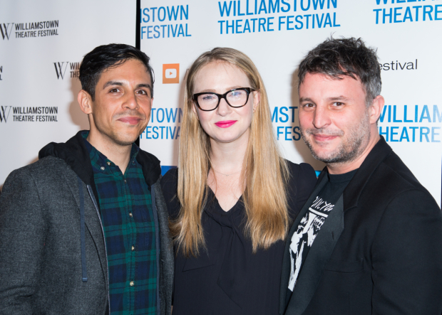 <p>Playwrights Matthew Lopez and Halley Feiffer take a photo with Drama Desk winner Trip Cullman.</p><br />(© Allison Stock)