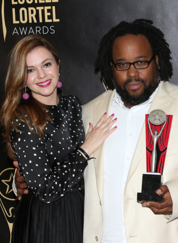 <p>Presenter Amber Tamblyn poses with Outstanding Featured Actor in a Play recipient Jacob Ming-Trent (<em>Father Comes Home From the Wars Parts 1, 2 &amp&#x3B; 3</em>).</p><br />(© David Gordon)