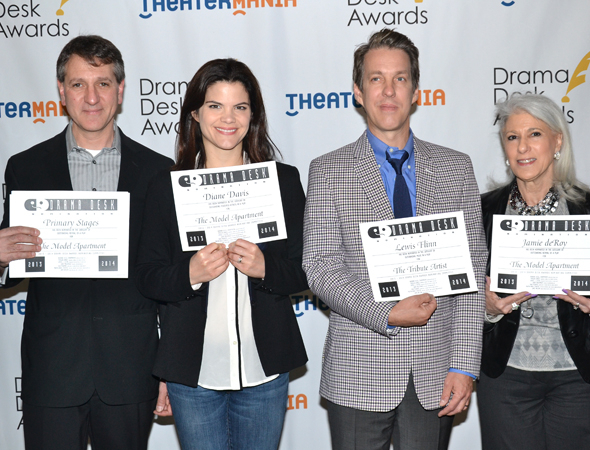 <p>Primary Stages Managing Director Elliot Fox (left) and producer Jamie deRoy (right) with <em>The Model Apartment</em> acting nominee Diane Davis and <em>The Tribute Artist</em> composer Lewis Flinn.</p><br />(© David Gordon)