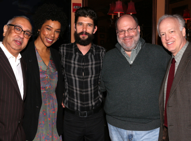 <p>Producer Scott Rudin (second from right) is joined by representatives from his shows this season: George C. Wolfe (<em>Shuffle Along</em>), Sophie Okonedo and Ben Whishaw (<em>The Crucible</em>), and Reed Birney (<em>The Humans</em>).</p><br />(© David Gordon)