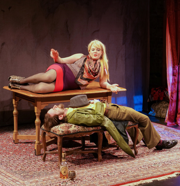 <p>Prostitute Hindl (Caraid O&#39&#x3B;Brien) and bodello manager Shloyme (Luzer Twersky) have a tenuous relationship in <em>God of Vengeance</em>.</p><br />(© Ronald L. Glassman)