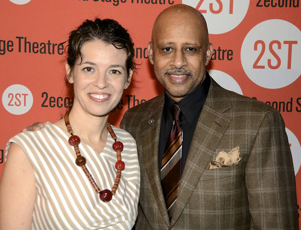 <p>Proud playwright Quiara Alegría Hudes joins her director, Ruben Santiago-Hudson, for a photo.</p><br />(© Nessie Nankivell)
