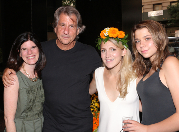 <p>Public Theater Associate Artistic Director Mandy Hackett, designer David Rockwell, and cast member Annaleigh Ashford take a photo with Rockwell&#39&#x3B;s daughter, Lola.</p><br />(© David Gordon)