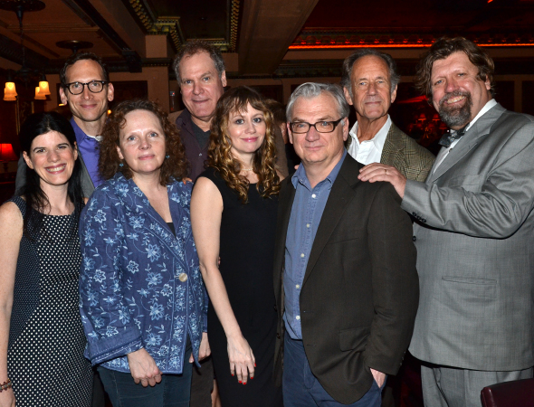 <p>Public Theater Associate Artistic Director Mandy Hackett (left) and Artistic Director Oskar Eustis (right) celebrate <em>The Apple Family Plays</em> with cast members Stephen Kunken, Maryann Plunkett, Jay O. Sanders, Sally Murphy, playwright/director Richard Nelson, and Jon DeVries.</p><br />(© David Gordon)