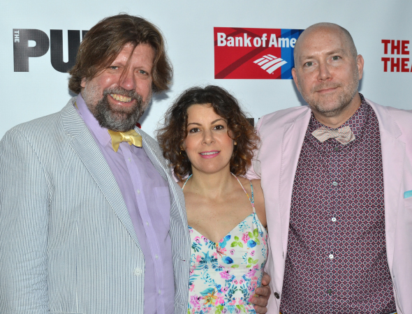 <p>Public Theater head honchos Oskar Eustis (artistic director), Arielle Tepper Madover (board chair), and Patrick Willingham (executive director) are ready to see the latest offering at the Delacorte.</p><br />(© David Gordon)