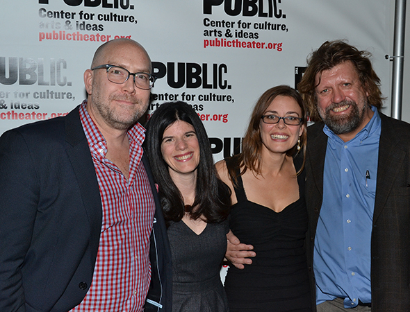 <p>Public Theater honchos Patrick Willingham, Mandy Hackett, and Oskar Eustis congratulate <em>Good</em> director Lear deBessonet.</p><br />(© David Gordon)