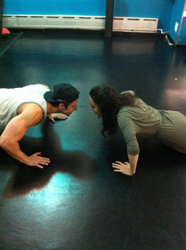 <p>Push-up contest. We tie. Next logical thing...</p>