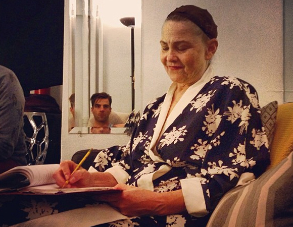 <p>Quinto lurks in another mirror as he chats with co-star Cherry Jones.</p><br />© (Photo via zacharyquinto)