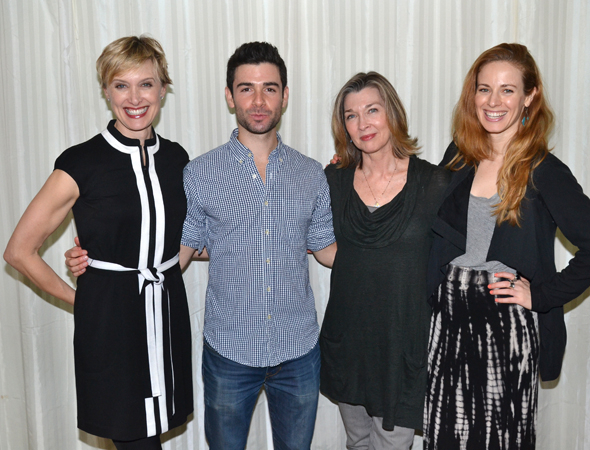 <p>Rachel deBenedet, Adam Kantor, Donna Bullock, and Teal Wicks pose for photos.</p><br />(© David Gordon)