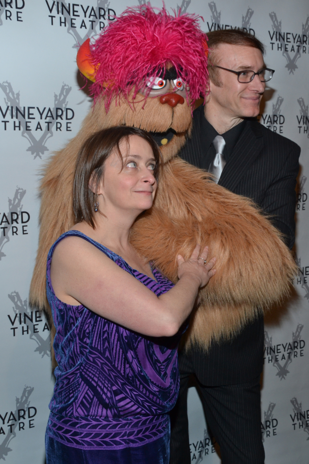 <p>Rachel Dratch snuggles up to Trekkie Monster and Rick Lyon.</p><br />(© David Gordon)
