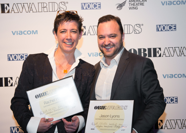 <p>Rachel Hauck and Jason Lyons, Obie winners for sustained excellence.</p><br />(© Allison Stock)