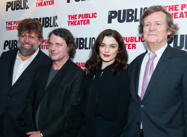 <p>Rachel Weisz takes a photo with Public Theater artistic director Oskar Eustis, <em>Plenty</em> director David Leveaux, and playwright David Hare.</p><br />(© Allison Stock)