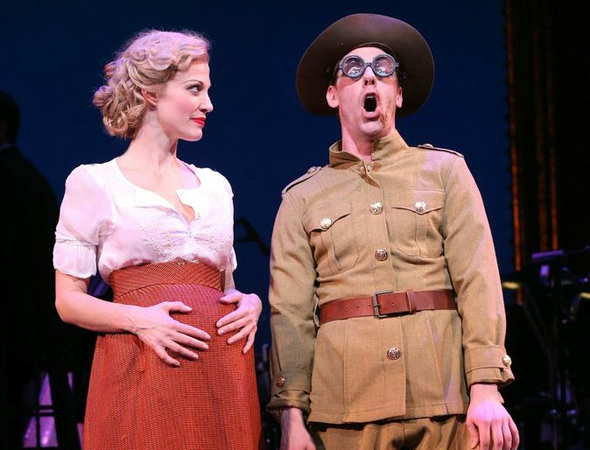 <p>Rachel York as Belle Poitrine shares a scene with Christian Borle as one of Belle&#39&#x3B;s six oddball lovers.</p><br />(© Joan Marcus)