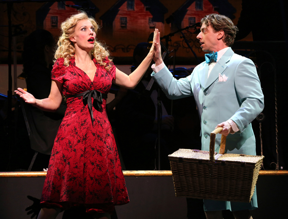 <p>Rachel York plays Belle Poitrine opposite Christian Borle as every one of her boyfriends.</p><br />(© Joan Marcus)
