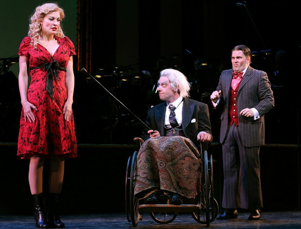<p>Rachel York shares a moment with the scene-stealing Christian Borle and Robert Creighton.</p><br />(© Joan Marcus)