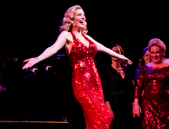 <p>Rachel York takes her triumphant bow at the end of <em>Little Me</em>.</p><br />(© David Gordon)