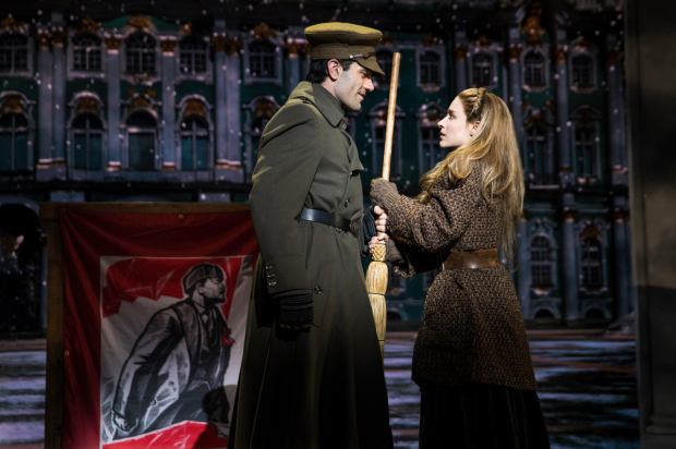 <p>Ramin Karimloo in a scene with costar Christy Altomare.</p><br />(© Matthew Murphy)