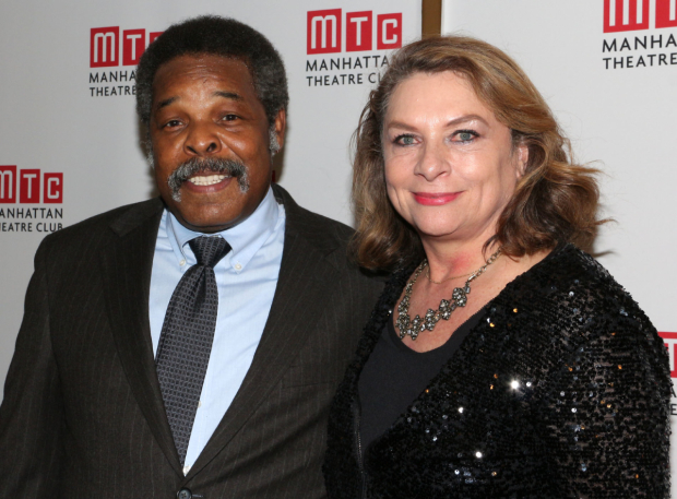 <p>Ray Anthony Thomas poses for a photo with Constanza Romero, the wife of late playwright August Wilson.</p><br />(© David Gordon)