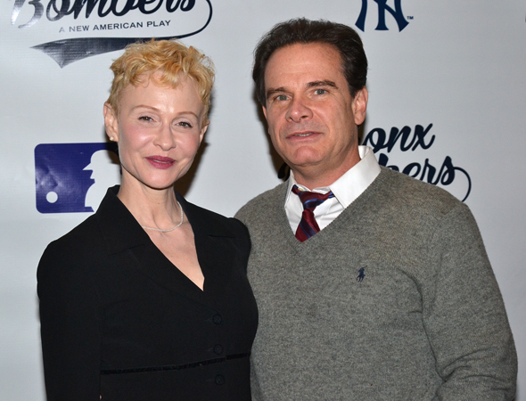 <p>Real-life married couple Tracy Shayne and Peter Scolari lead the cast of <em>Bronx Bombers</em> as Carmen and Yogi Berra.</p><br />(© David Gordon)