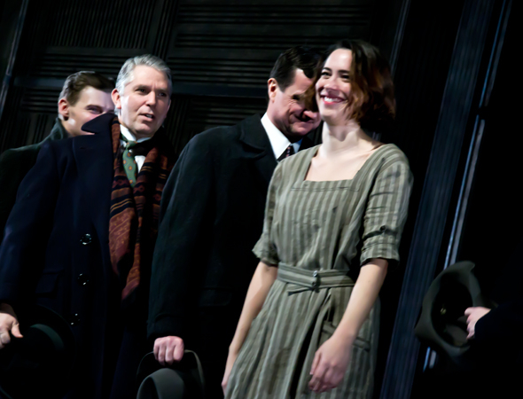 <p>Rebecca Hall takes her curtain call on the opening night of <em>Machinal</em> at the American Airlines Theatre.</p><br />(© David Gordon)