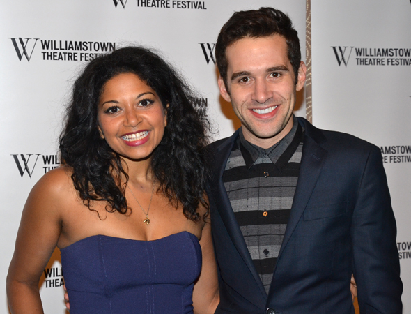 <p>Rebecca Naomi Jones and Adam Chanler-Berat smile for the cameras.</p><br />(© David Gordon)