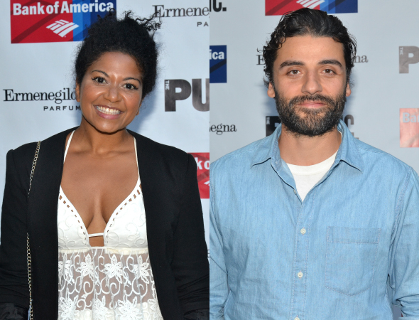 <p>Rebecca Naomi Jones and Oscar Isaac were among the Shakespeare in the Park veterans who attended the performance.</p><br />(© David Gordon)