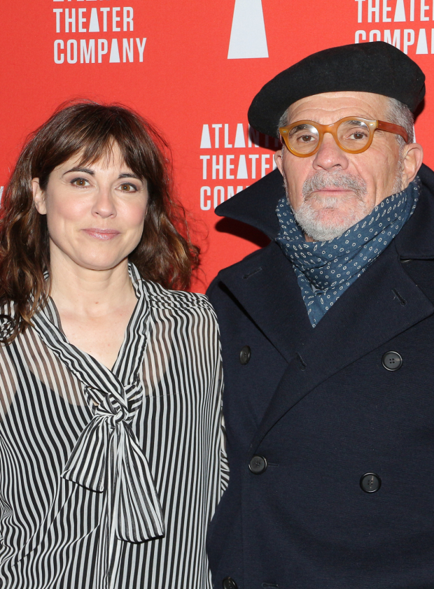 <p>Rebecca Pidgeon and David Mamet take a photo to commemorate the opening night of <em>The Penitent</em>.</p><br />(© David Gordon)