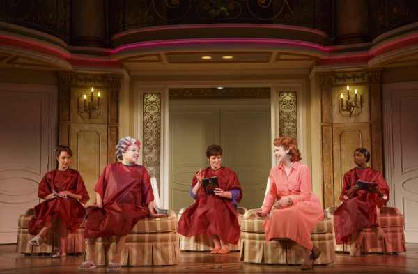 <p>Rebecca (Sierra Boggess), Judy (Tyne Daly), Jenny (Lisa Howard), Georgette (Harriet Harris), and Annie (Montego Glover) get their hair done in preparation for the big day. </p><br />(© Joan Marcus)