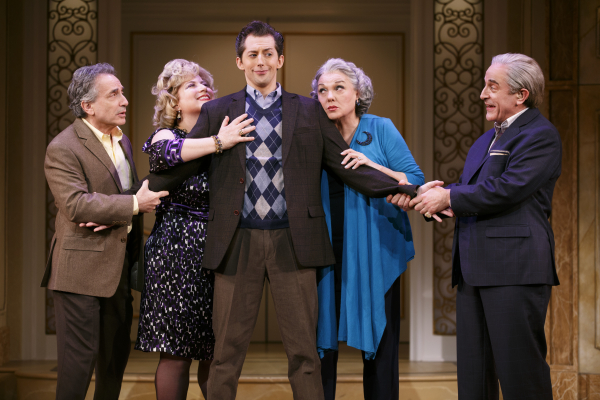 <p>Rebecca&#39&#x3B;s father Murray (Chip Zien), Aunt Sheila (Anne L. Nathan), mother Judy (Tyne Daly), and Uncle Morty (Adam Heller) tell Rebecca&#39&#x3B;s ex-boyfriend Marty (Josh Grisetti in the center) &quot&#x3B;It Shoulda Been You.&quot&#x3B;</p><br />(© Joan Marcus)